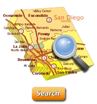 Click on this map to search the entire San Diego County MLS for free.